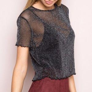 Brandy Melville black glitter mesh top
